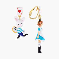 Boucles D'oreilles Originales Boucles d'oreilles clip asymétriques alice et le lapin blanc75,00€ AMAL111C/1N2 by Les Néréides