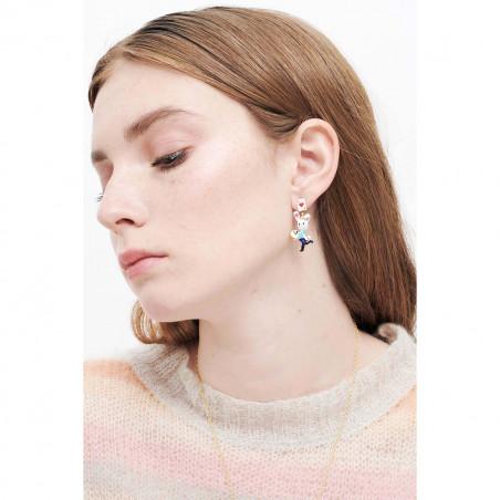 Boucles d'oreilles asymétriques ballerine argentée