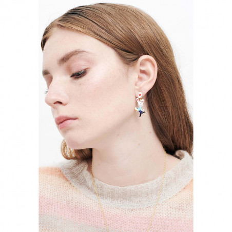 Silvered asymmetrical ballerina earrings