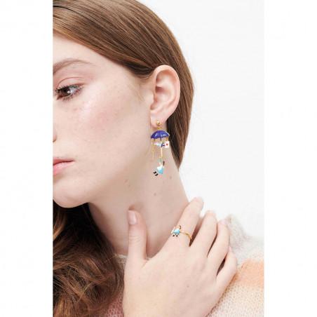 Boucles d'oreilles clip asymétriques ballerine argentée