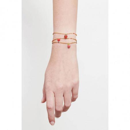 Bracelet verres taillés, petite coccinelle et fraise