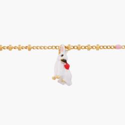 White cat on flowered branch french hook earrings