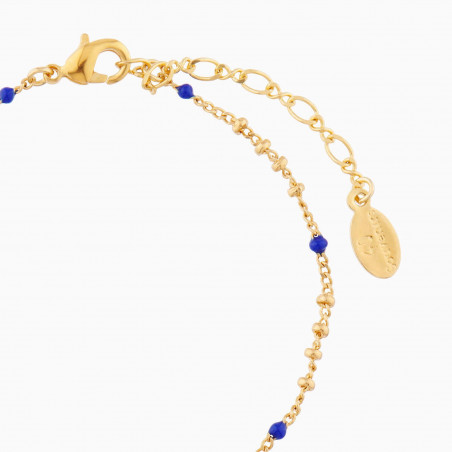 Boucles d'oreilles clip poisson, anémone et coraux sur verre taillé bleu