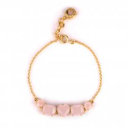Bracelet perlé oiseau mutlicolore sur pierre et petites fleurs