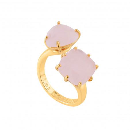 Boucles d'oreilles fleurs rose et violettes et pierre bleue