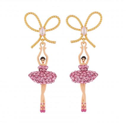 Boucles D'oreilles Pendantes Boucles D'oreilles Tige Ballerine Rose Et Strass110,00€ ZDDL108T/1Les Néréides