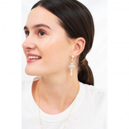 Boucles d'oreilles clip fleur rose sur pierre reconstituée