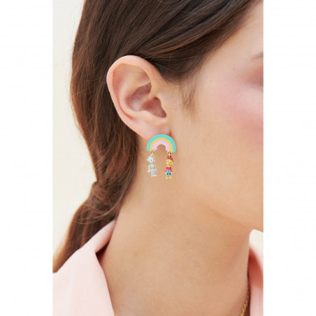 Beads and faceted glass clip earrings