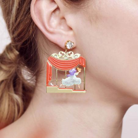 Boucles d'oreilles 3 pierres rondes bleu givré et chaîne