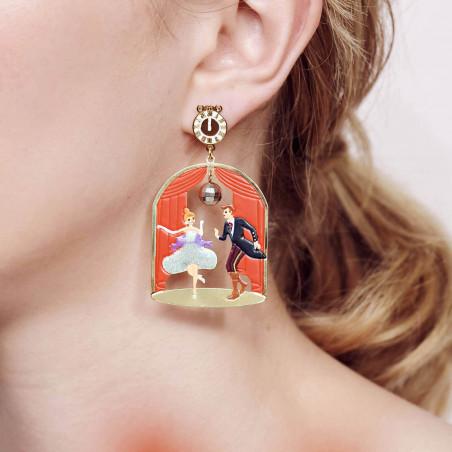 Boucles d'oreilles clip double pierre carrée bleu givré