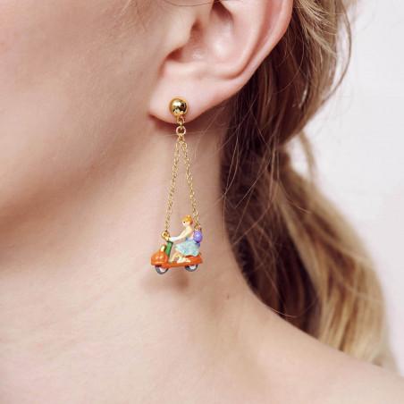 Boucles d'oreilles clip petite pierre ronde bleu givré