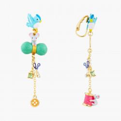 Boucles D'oreilles Originales Boucles d'oreilles clip oiseau, souris, laine, ciseau, bouton bobine de fil et cristal taillé85...