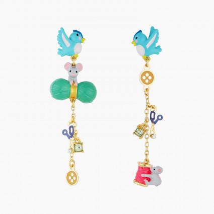Boucles D'oreilles Originales Boucles d'oreilles tiges oiseau, souris, laine, ciseau, bouton bobine de fil et cristal taillé8...
