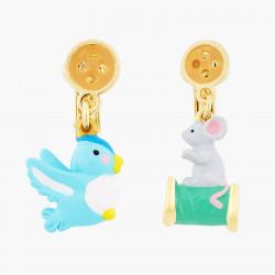 Boucles D'oreilles Originales Boucles d'oreilles clip oiseau, souris, bouton et bobine de fil65,00€ AOCE108C/1N2 by Les Néré...