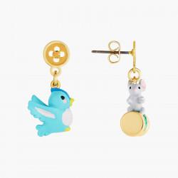 Boucles D'oreilles Originales Boucles d'oreilles tiges oiseau, souris, bouton et bobine de fil65,00€ AOCE108T/1N2 by Les Nér...