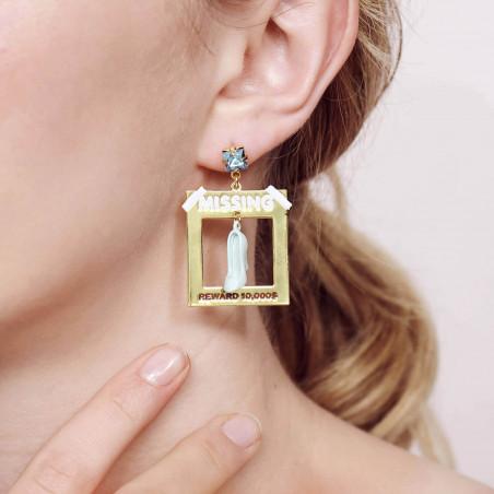 Mini ballerina with a silvered tutu clip earrings