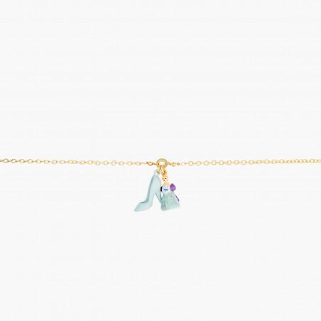 Boucles d'oreilles ballerine au tutu pavé de strass turquoise mat