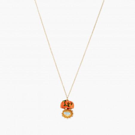 Ballerina paved with orange matt crystals necklace