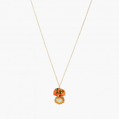 Collier ballerine au tutu pavé de strass orange mat