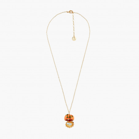 Ballerina paved with orange matt crystals and treble key necklace