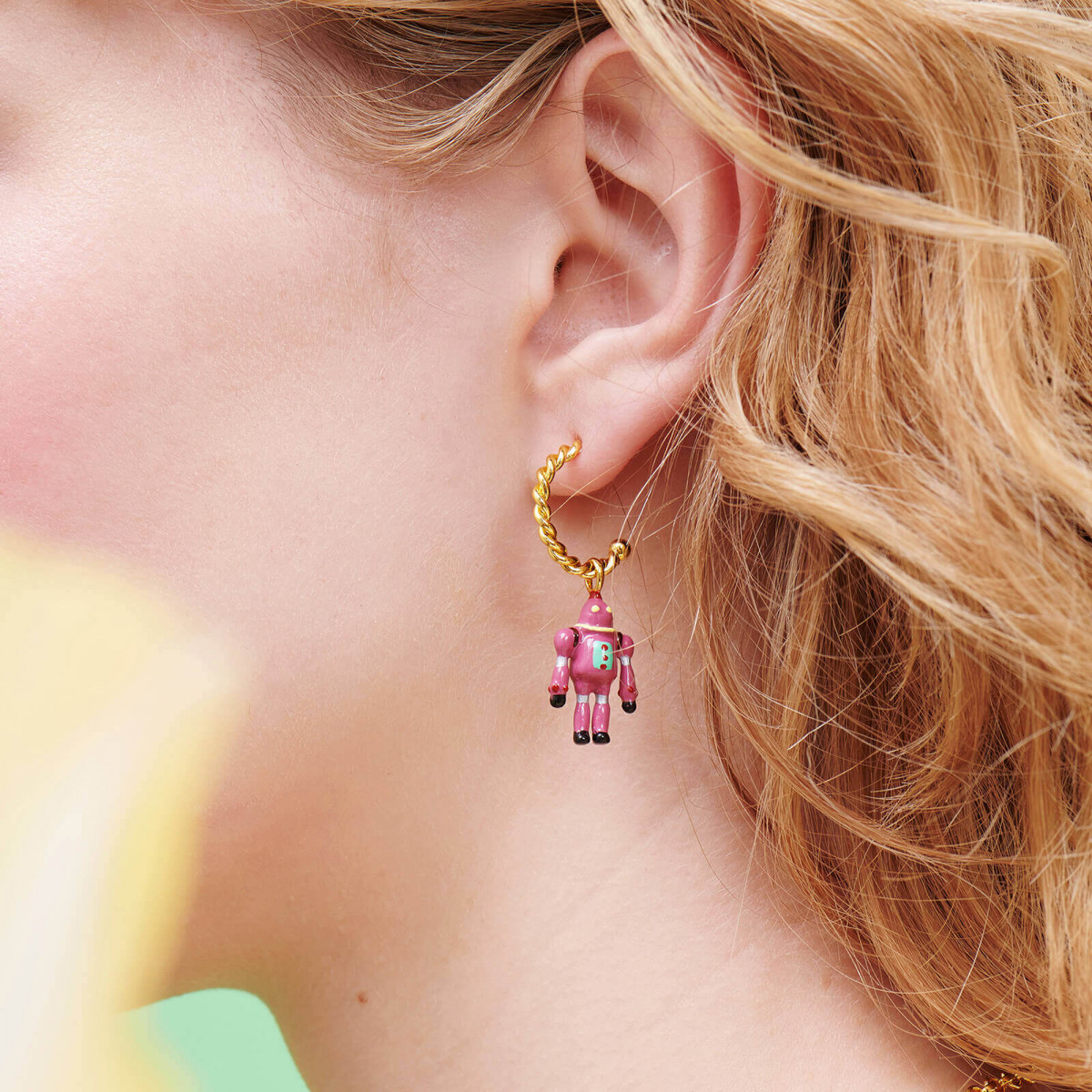 Toe-dancing ballerina paved with copper crystals clip earrings