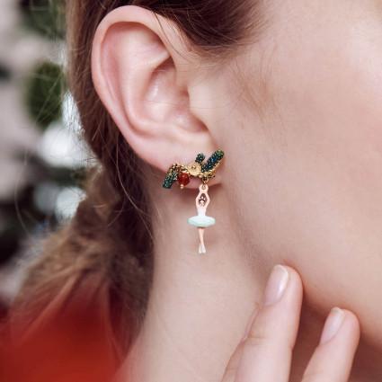 Boucles d'oreilles chihuahua sur pierre et fleur rose