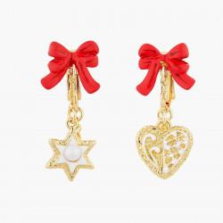 Boucles D'oreilles Pendantes Boucles d'oreilles clip biscuits cœur, étoile et nœud rouge80,00€ AOCN102C/1Les Néréides