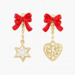 Boucles D'oreilles Pendantes Boucles d'oreilles tiges biscuits cœur, étoile et nœud rouge80,00€ AOCN102T/1Les Néréides