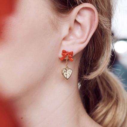 Boucles d'oreilles cristaux sur pierre et fleur violette