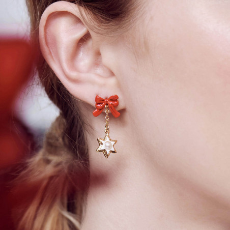 Scorpion on stone and flower earrings
