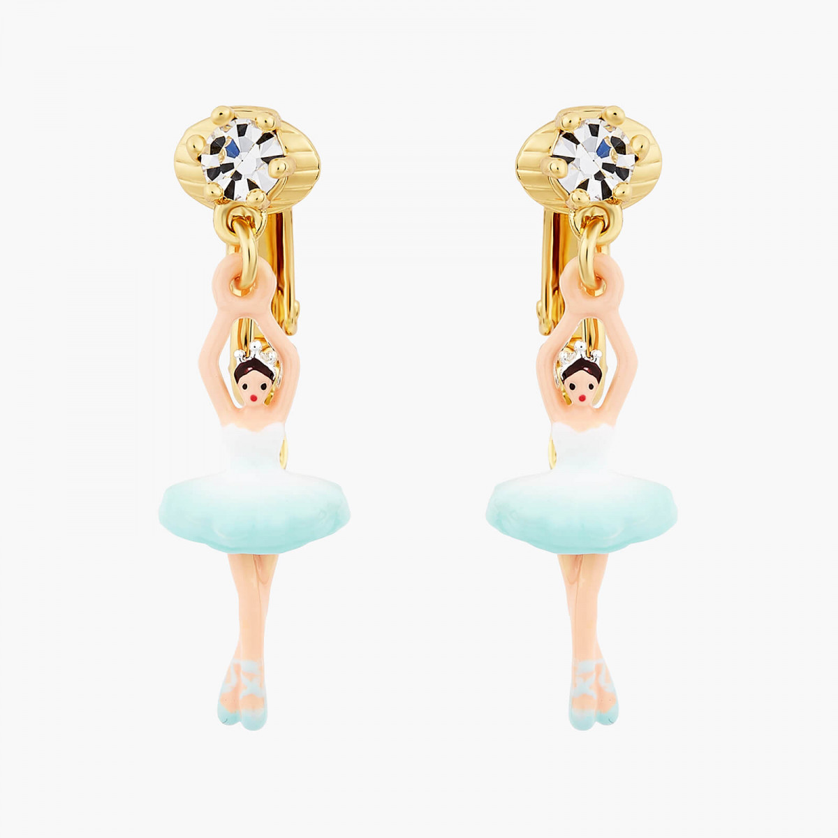 Snake on stone and pink flower earrings
