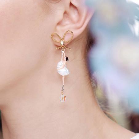 Boucles d'oreilles clip duo de chihuahuas sur verre taillé rose