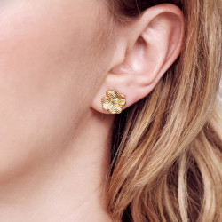 Boucles D'oreilles Pendantes Boucles d'oreilles tiges trèfles et cristaux130,00€ AOFC101T/1Les Néréides