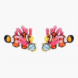 Boucles d'oreilles cœur corail et chaînes perlées