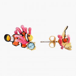 Boucles D'oreilles Tiges Boucles d'oreilles tiges poisson-clown anémone rose et verre facetté bleu clair80,00€ AOGL101T/1Les...
