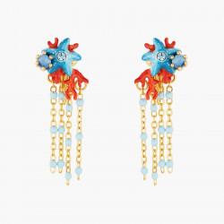Boucles D'oreilles Clip Boucles D'oreilles Pendantes Clip Étoile De Mer Bleu Et Corail Rouge110,00€ AOGL102C/1Les Néréides