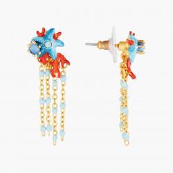 Collier de perles corail et médaille cœur et main
