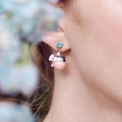 Boucles D'oreilles Dormeuses Boucles d'oreilles pendantes dormeuses poisson-coffre et pierre de verre facetté bleu clair160,0...