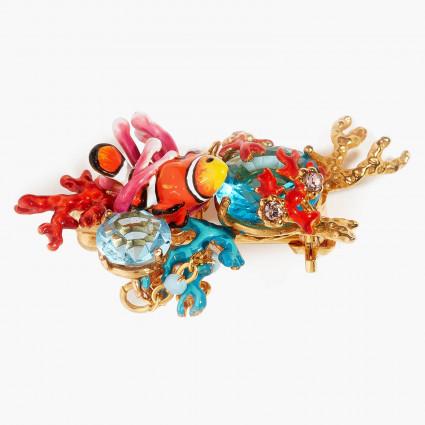 Broches Broche poisson-clown anémones et pierres de verre facetté bleues130,00€ AOGL501/1Les Néréides