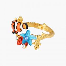 Bagues Ajustables Bague ajustable poisson-clown corail et étoile de mer bleue95,00€ AOGL601/1Les Néréides
