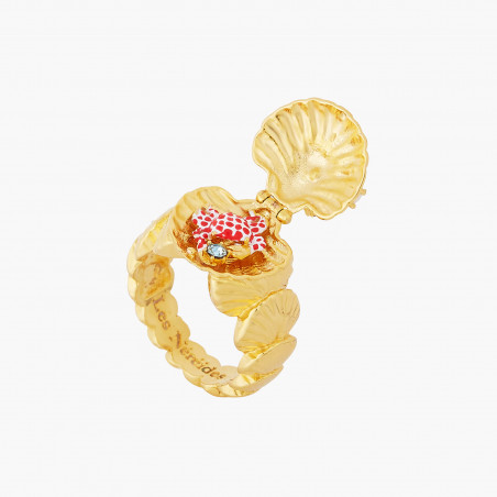 Stone, snake and palm tree adjustable ring