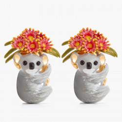 Boucles D'oreilles Dormeuses Boucles d'oreilles clip couple de koalas et eucalyptus roses130,00€ AOLA105C/1Les Néréides