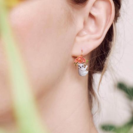 Boucles d'oreilles clip écureuil sur verre taillé
