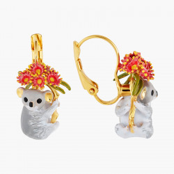 Boucles d'oreilles écureuil, petites baies rouges et cascade de chaînes