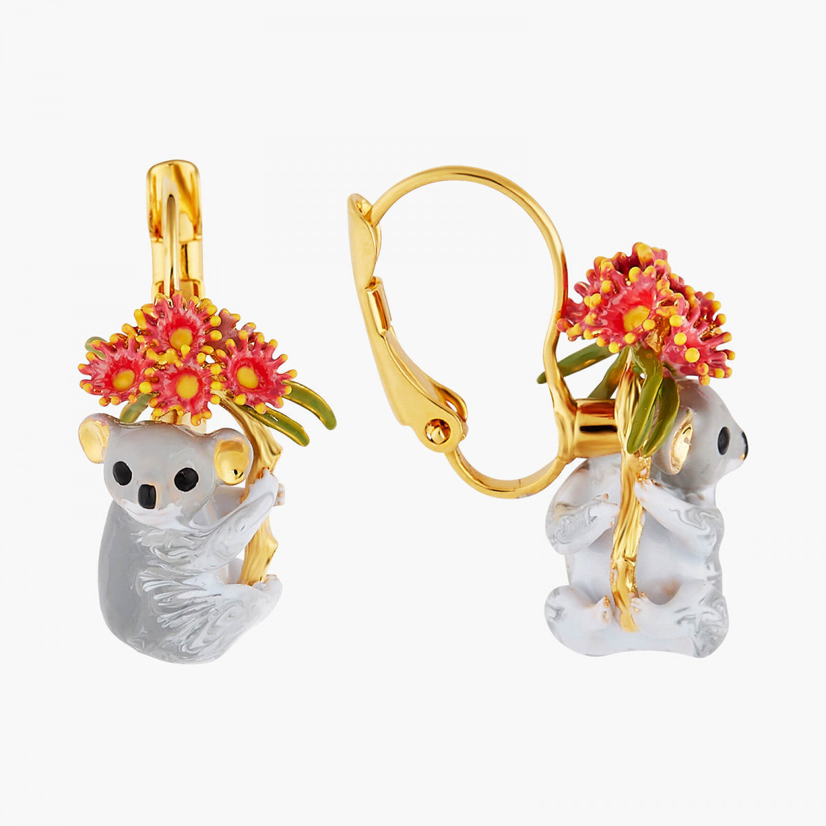 Squirrel, red berries and stream of chains earrings