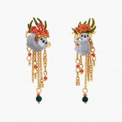 Boucles D'oreilles Tiges Boucles d'oreilles dormeuses couple de koalas, eucalyptus roses et perles de malachite160,00€ AOLA1...