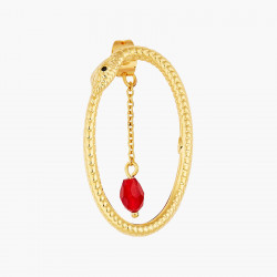 Bracelet jonc petit écureuil enneigé sur sa branche de baies et perles