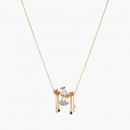 Snow-covered squirrel's family on their forest branch necklace