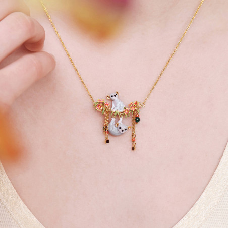 Trio of squirrels on their branch and faceted glass necklace