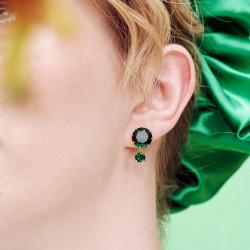 Boucles d'oreilles petites alvéoles dorées, strass et pampille